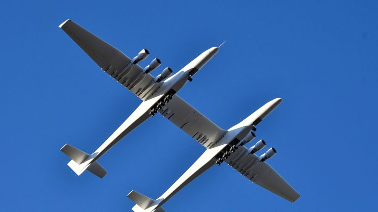 The jet has a 385ft wingspan - the largest of any aircraft