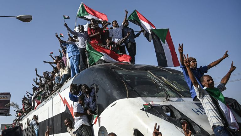 There was celebration as a train from the region where the protests began arrived in Khartoum