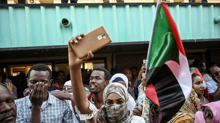 Protesters in the Sudanese capital chanted 'freedom, peace, justice'