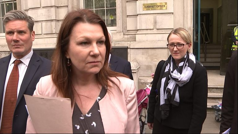 Labour's Sue Hayman outside the Cabinet Office after Brexit compromise talks
