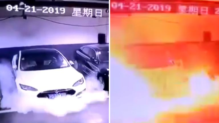 Video on a social media site shows a Tesla exploding in flames