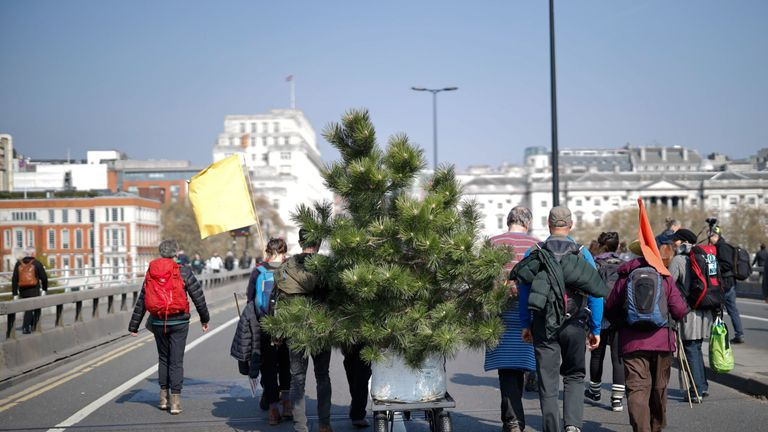 Protesters arrive with a tree to stage a demonstration on the river crossing