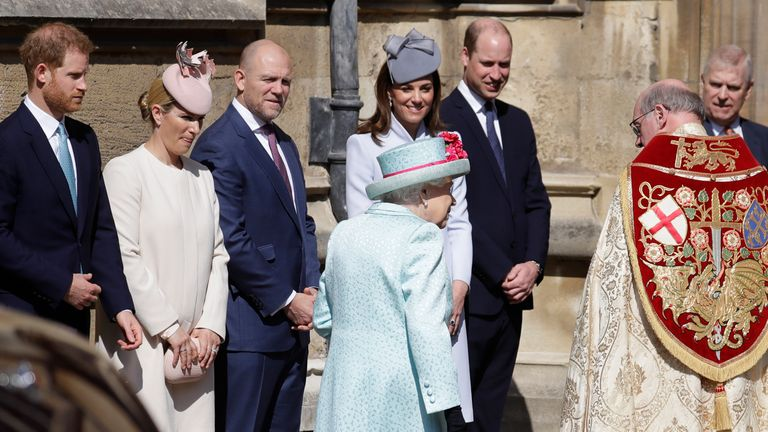 The royal family greeted the Queen as she arrived at church for the annual Easter service