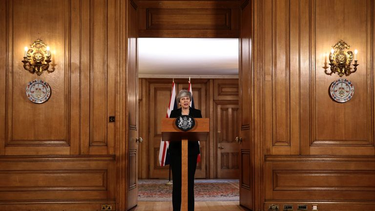 LONDON, ENGLAND - APRIL 2: British Prime Minister Theresa May gives a press conference outside Downing Street on April 2, 2019 in London, England. Cabinet Ministers have held a two-part meeting in Downing Street today. Last night MPs still couldn't decide an alternative to the Prime Minister's Brexit Deal in the latest round of indicative votes. (Photo by Jack Taylor/Getty Images)