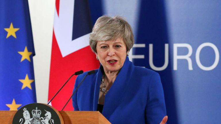 Theresa May holds a news conference following an extraordinary European Union leaders summit to discuss Brexit