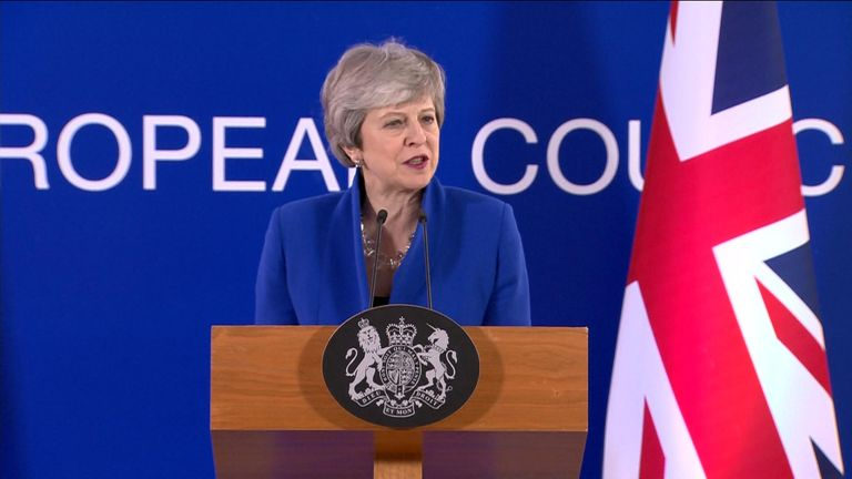 Theresa May speaks after agreeing to delay Brexit until 31 October