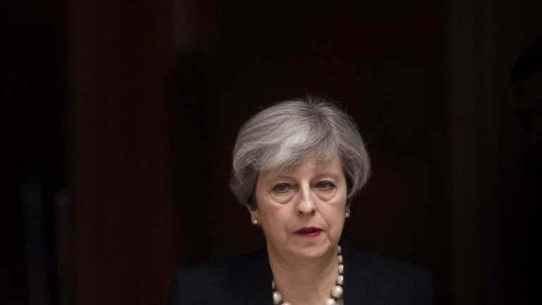 LONDON, ENGLAND - MAY 23:  Prime Minister Theresa May leaves Downing Street after addressing the media following a COBRA meeting to discuss the government's response to the Manchester terror attack, on May 23, 2017 in London, England. Prime Minister Theresa May has held a COBRA meeting this morning following a suicide attack at Manchester Arena as concert goers were leaving the venue after Ariana Grande had performed. Greater Manchester Police have confirmed the explosion as a terrorist attack with 22 fatalities and 59 injured.  (Photo by Carl Court/Getty Images)