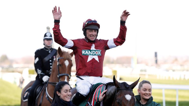 Davy Russell celebrates on Tiger Roll