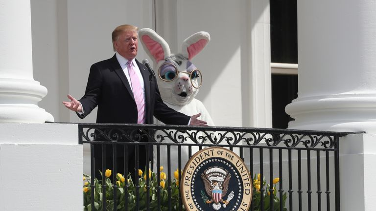 U.S. President Trump addresses the crowd at the 2019 White House Easter Egg Roll in Washington.