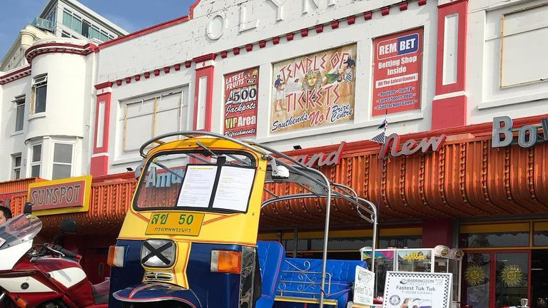 The tuk tuk at the Southend sea front as the cousins started fundraising