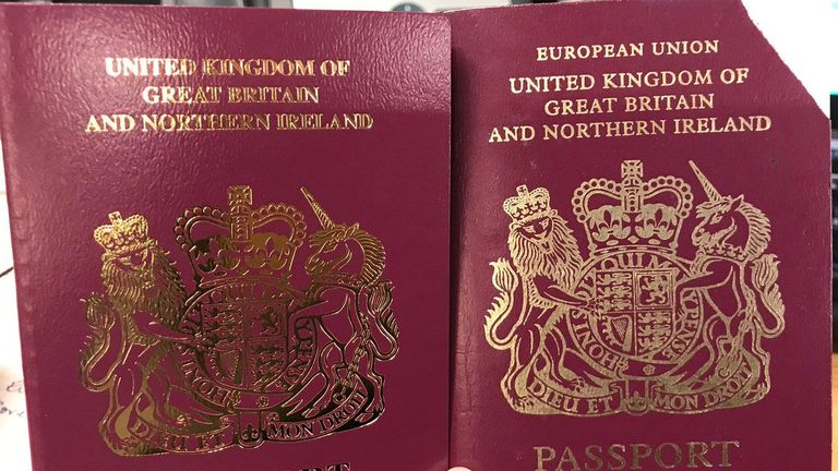 "Handout photo taken from the twitter feed of SpinHBarone of her new passport (left) and her old passport (right). British passports without the words ""European Union"" on the front cover have been issued despite the Brexit delay. The burgundy passports were introduced from March 30, the day after Britain was expected to leave the EU. PRESS ASSOCIATION Photo. Issue date: Friday April 5, 2019. See PA story POLITICS Brexit Passport. Photo credit should read: @SpinHBarone/PA Wire NOTE TO EDITORS"