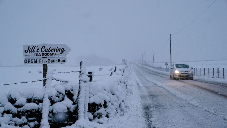 Snow covered roads near Allendale, Northumberland, after temperatures dipped below freezing overnight