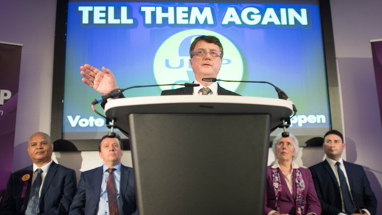 UKIP leader Gerard Batten speaks during the launch of the party's European Parliament election campaign