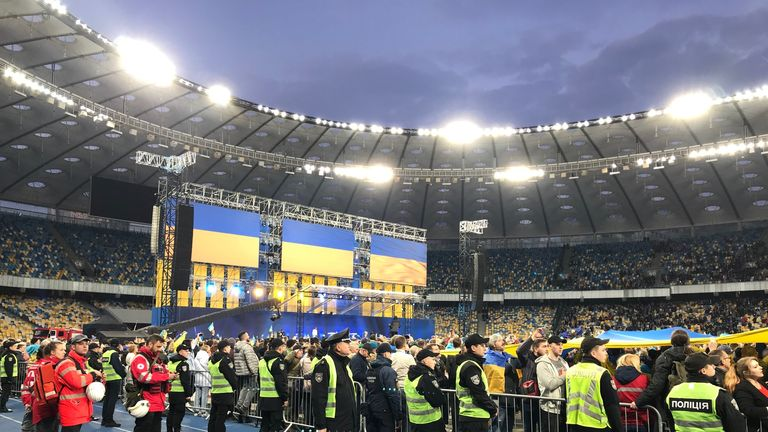 The rally was held at Kiev's Olympic stadium