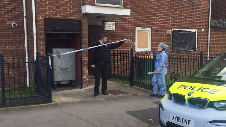 Police at the property on Vandome Close in Canning Town