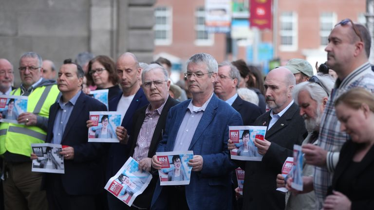 People during a vigil for murdered journalist 29 year-old Lyra McKee in Dublin
