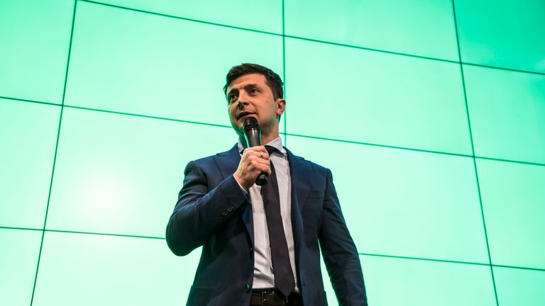 Comedian and leading Ukrainian presidential candidate Volodymyr Zelenskiy