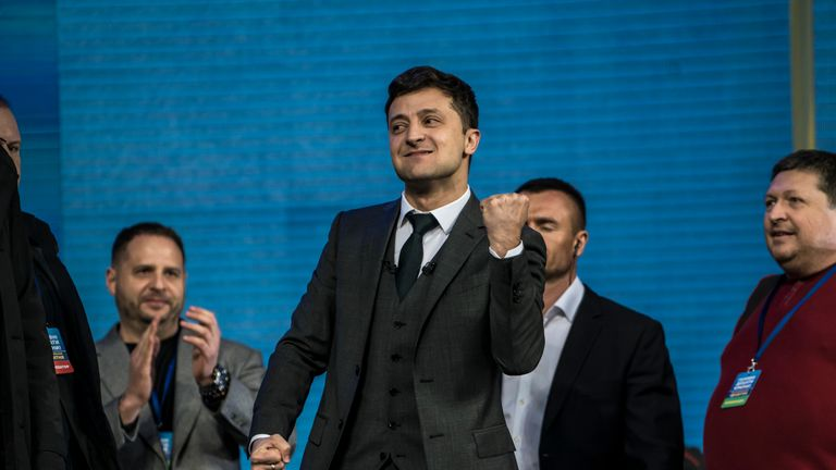 Volodymyr Zelenskiy during the debate in Kiev's Olympic stadium