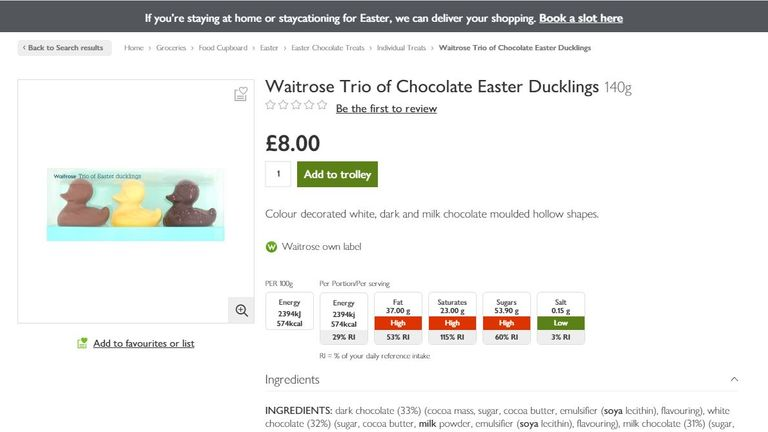 The £8 product was replaced without the chocolates being named. Pic: Waitrose