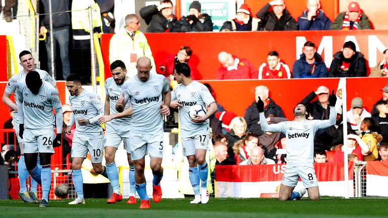 West Ham players celebrate after scoring at Old Trafford on Saturday