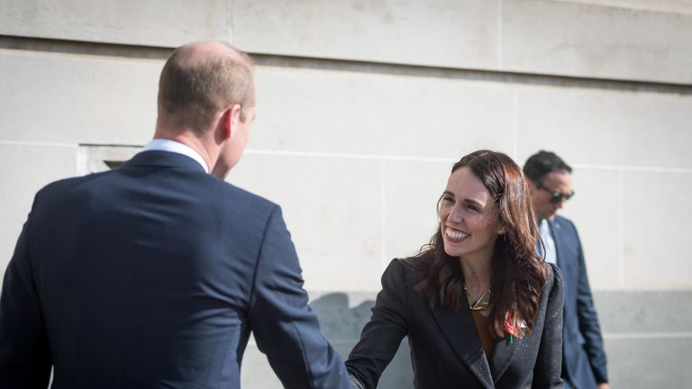 Prince William greets New Zealand Prime Minister Jacinda Ardern during an ANZAC Day service in Auckland, New Zealand April 25, 2019. Mark Tantrum/The New Zealand Government/Handout
