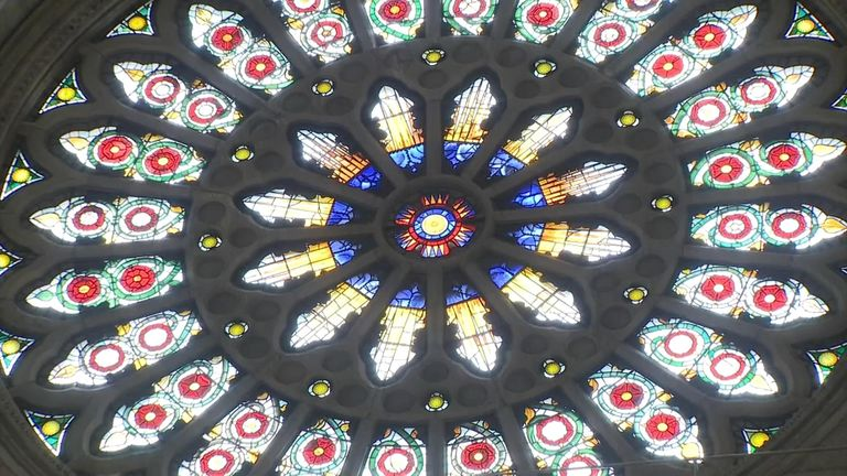 The famous Rose window dates back to 1515 and was painstakingly restored after being shattered into around 40,000 pieces