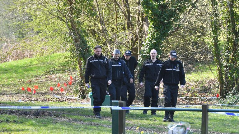 Police in Ystrad Mynach Park in South Wales where a 13-year-old boy died