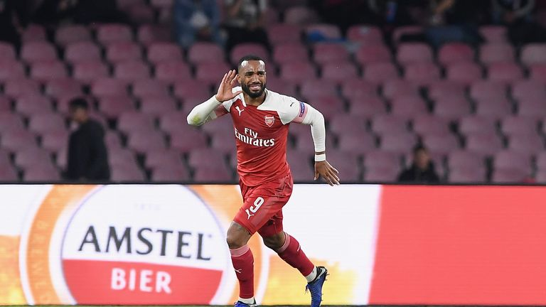 Alexandre Lacazette celebrates scoring the only goal of the night as Arsenal progress to the Europa League semi-finals