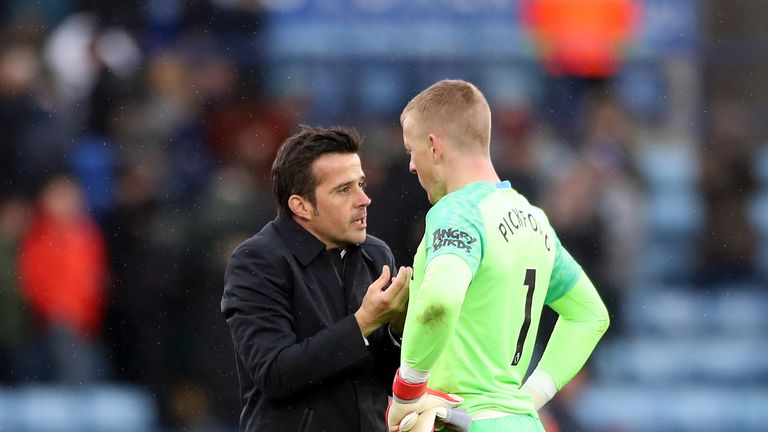 Everton manager Marco Silva 'not happy' with Jordan Pickford after fracas
