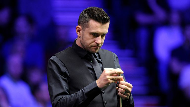 Mark Selby of England looks on during his quarter-final match against Judd Trump of England on day six of the 2019 Dafabet Masters at Alexandra Palace on January 18, 2019 in London, England