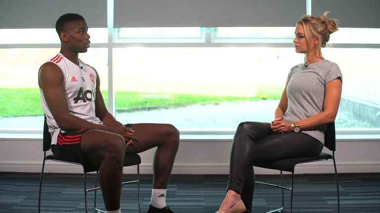 Paul Pogba talks to Laura Woods ahead of Wednesday's Manchester derby