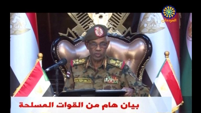 udan's Defence Minister Awad Mohamed Ahmed Ibn Auf makes an announcement