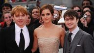 LONDON, ENGLAND - JULY 07:  (L-R) Rupert Grint, Emma Watson and Daniel Radcliffe attend the World Premiere of Harry Potter and The Deathly Hallows - Part 2 at Trafalgar Square on July 7, 2011 in London, England.  (Photo by Ian Gavan/Getty Images)