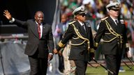 Cyril Ramaphosa waves after taking the oath of office