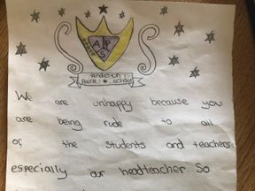 The letter written by two pupils at Anderton Park Primary School