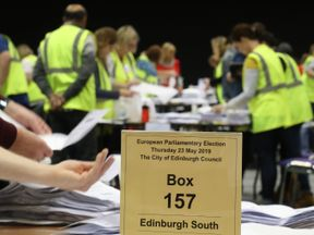 Ballot papers counted during the European elections count in Edinburgh