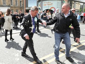 Nigel Farage was covered in milkshake in Newcastle