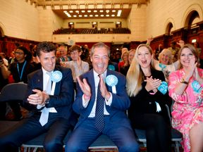 Brexit Party leader Nigel Farage reacts after the European Parliament election results for the UK South East Region
