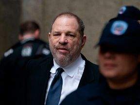 Disgraced Hollywood mogul Harvey Weinstein leaves the State Supreme Court on April 26