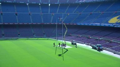Rugby posts go up at Nou Camp