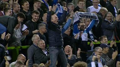Mike Dean celebrates Tranmere's play-off win!
