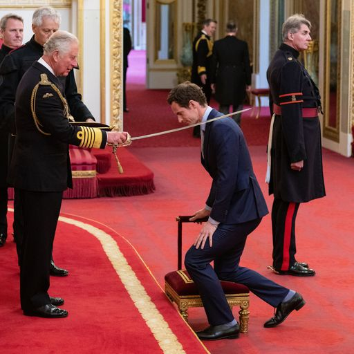 Sir Andy Murray receives his knighthood at Buckingham Palace