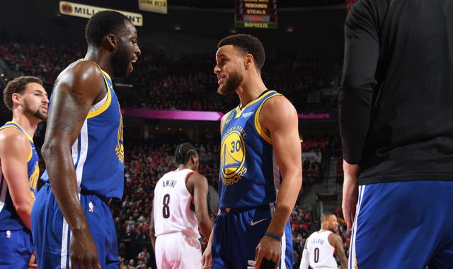 3b843917fab Stephen Curry and Draymond Green star as Golden State Warriors sweep  Portland Trail Blazers to reach NBA Finals