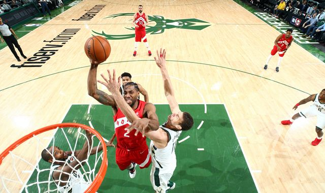 Kawhi Leonard leads Toronto Raptors to 105-99 victory over Milwaukee Bucks and within one win of making NBA Finals debut