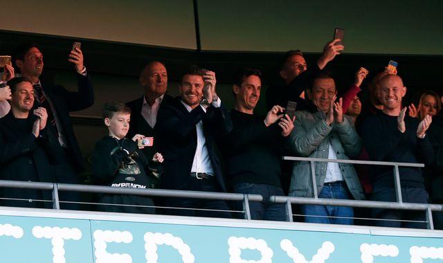 David Beckham and 'Class of 92' watch their Salford City team win