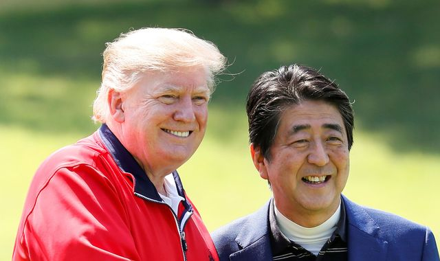 Golf and sumo wrestling: Trump arrives in Japan for four-day state visit