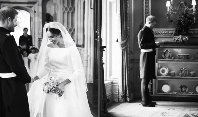 Harry and Meghan mark first year of marriage with previously unseen wedding photos