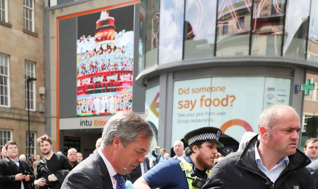 Man arrested in Newcastle after throwing milkshake at Nigel Farage