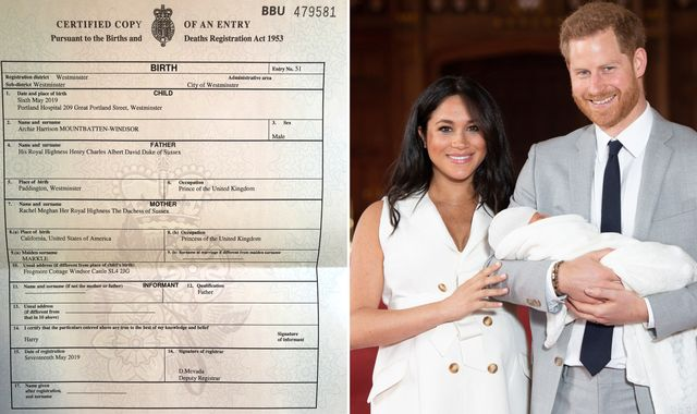Birth certificate shows baby Archie's birthplace and Meghan's job