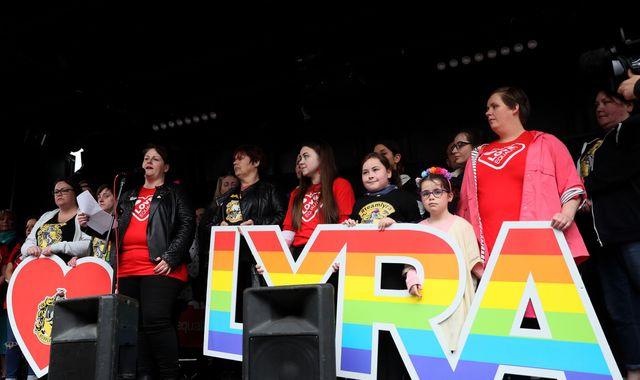 Lyra McKee: Murdered journalist's partner leads same-sex marriage rally in Belfast